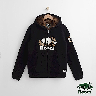 Roots 男裝-周年系列 庫柏楓葉毛毛連帽外套-黑