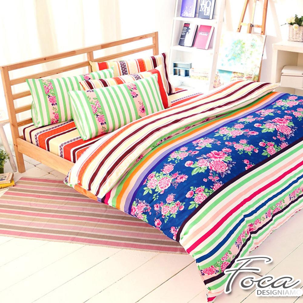 FOCA年華似景-雙人-100%精梳純棉四件式兩用被床包組