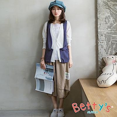 betty's貝蒂思 腰鬆緊雙口袋七分寬裙(卡其)