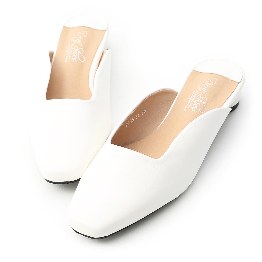 D+AF 韓系風格.素面U口方頭穆勒鞋*白