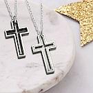 雙色鏤空雙十字架造型抗敏項鍊-鋼色/黑色(SPN0071-1/2)