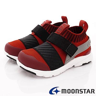 日本月星頂級競速童鞋 襪套忍者鞋款 TW2282黑紅(中小童段)