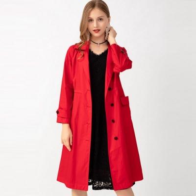 英倫風紅色亮眼長大衣風衣外套L-5XL-KVOLL