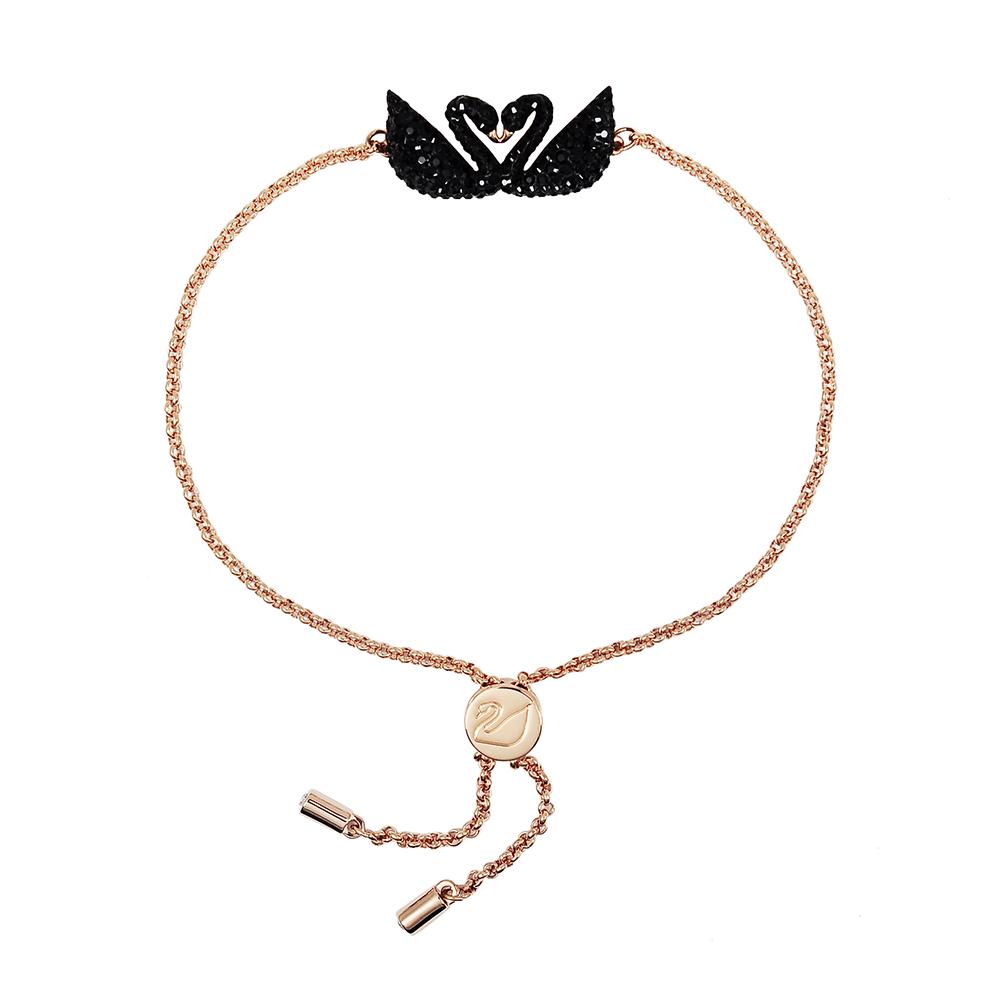 SWAROVSKI 施華洛世奇 璀璨雙黑天鵝水晶可調節玫瑰金手鍊手環