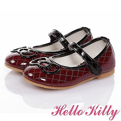 HelloKitty 高級手工超纖皮輕量減壓娃娃童鞋-酒紅