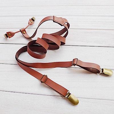 拉福   四夾1.7cm牛皮背帶西裝吊帶