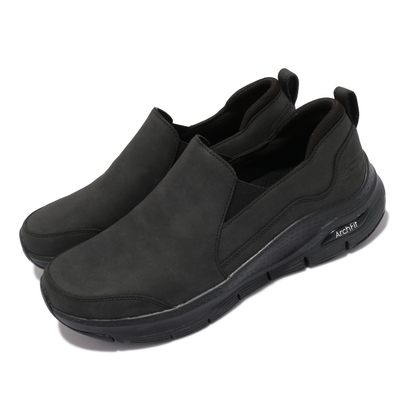 Skechers 休閒鞋 Arch Fit-Karmyne 男鞋 懶人鞋 無鞋帶 專利鞋墊 緩震 支撐 黑 銀 232103BBK
