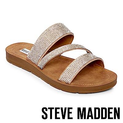 STEVE MADDEN-PRAISE-R-水鑽寬版質感拖鞋-棕色