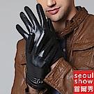 seoul show首爾秀 鈕釦小綿羊皮針織腕口加絨全掌觸控手套