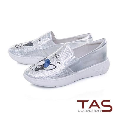 TAS法鬥犬造型燙鑽真皮懶人休閒鞋–亮眼銀
