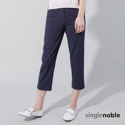 獨身貴族 俐落品味條紋直筒七分褲(2色)