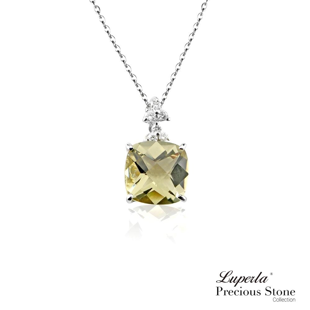 大東山珠寶 稀有香檳綠摩根石 14K白金真鑽項鍊 愛的療愈