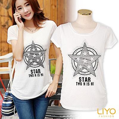 LIYO理優燙鑽印花圓領T恤(白)