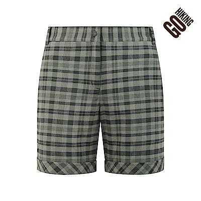 【GOHIKING】女吸排格紋風格短褲