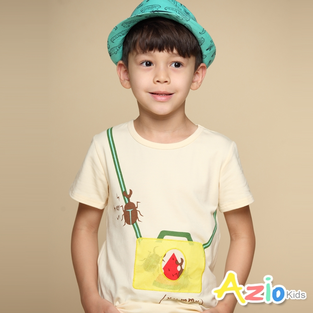 Azio Kids 上衣 甲蟲印花造型網袋貼布短袖上衣T恤(杏)