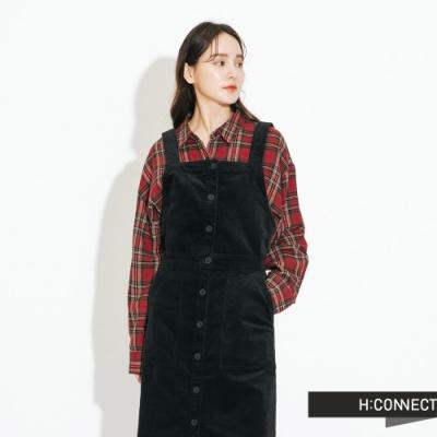 H:CONNECT 韓國品牌 女裝-絨面排扣長洋裝-黑