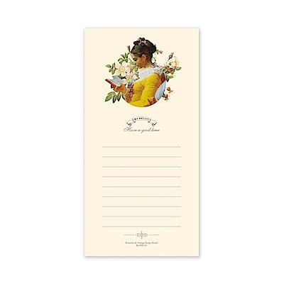 ByNACOO 復古便條紙-02黃色洋裝-橫線