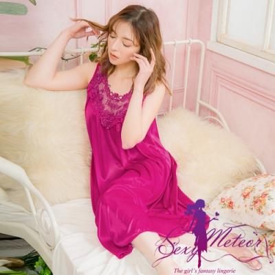 睡衣 全尺碼 冰絲蕾絲背心連身裙睡衣(雅緻深紫紅) Sexy Meteor
