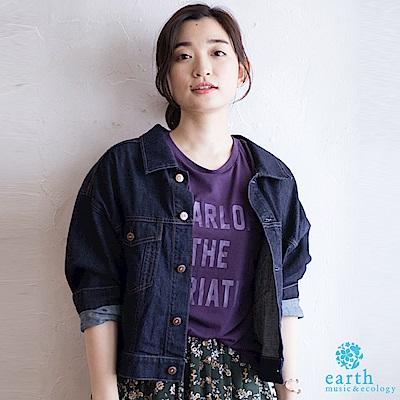 earth music 美國棉寬鬆短版牛仔外套