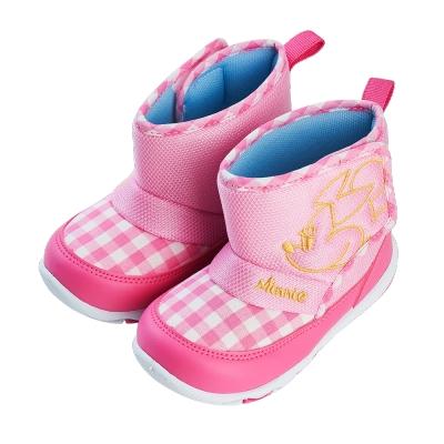 迪士尼童鞋 米妮 格紋短靴休閒鞋-粉