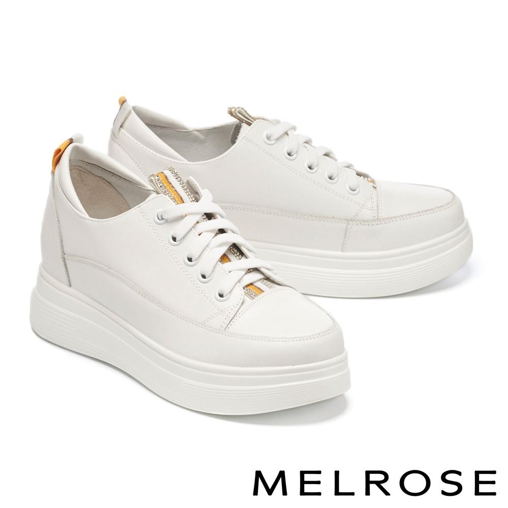 休閒鞋 MELROSE 日常百搭撞色鑽帶全真皮厚底休閒鞋-黃