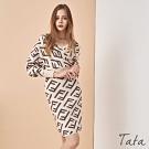 前後交疊印花V領洋裝 共二色 TATA-F