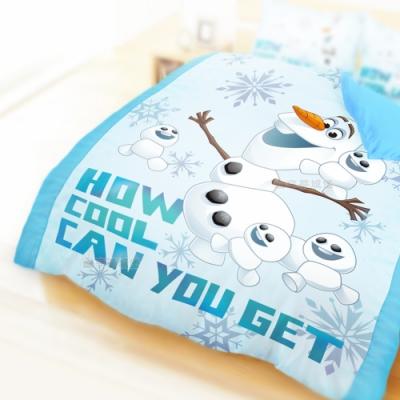 享夢城堡 單人床包雙人兩用被套三件組-冰雪奇緣FROZEN 雪寶與小雪人-藍
