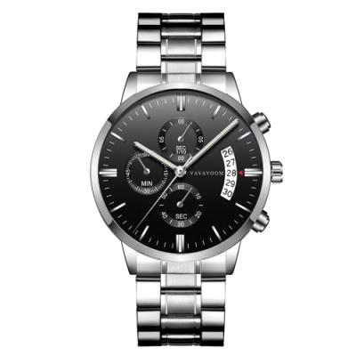 HANNAH MARTIN 世紀征服者裝飾三眼石英腕錶(HM-VA-G001-BS)