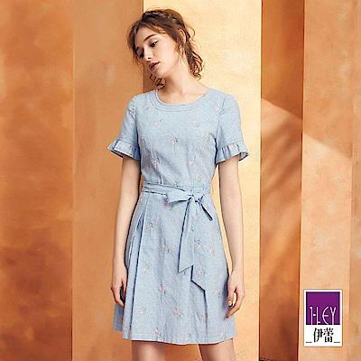 ILEY伊蕾 花朵刺繡條紋壓褶洋裝(藍)
