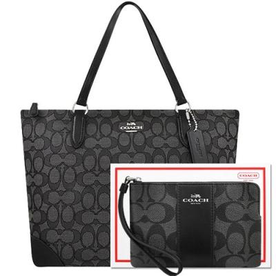 COACH 黑色大C織紋托特包+黑色大C PVC手拿包