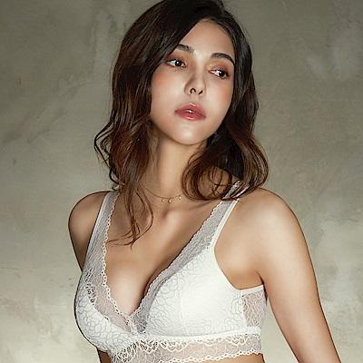 推EASY SHOP-愛戀花妍 無鋼圈M-LL罩內衣(愛戀白)