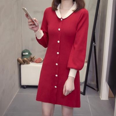 甜美雅麗公主領排釦短版洋裝L-4XL(共二色)-KVOLL