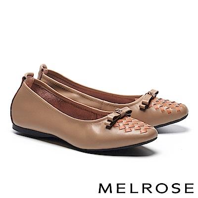 平底鞋 MELROSE 復古撞色編織蝴蝶結金屬釦全真皮平底鞋-橘