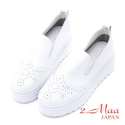 2.Maa 素面設計牛皮繫帶休閒厚底便鞋 - 白