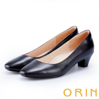 ORIN 簡約時尚OL 素面柔軟牛皮粗跟鞋-黑色