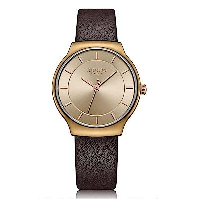 JULIUS聚利時 專屬誓言簡約時尚皮錶帶腕錶-咖啡/31.5X34mm