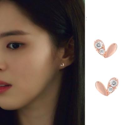 梨花HaNA  韓國925銀夫妻的世界韓素希愛心甜美耳環
