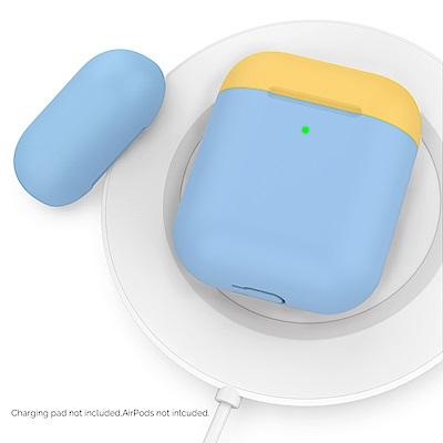 AHAStyle AirPods 1&2代 矽膠保護套 天空藍+黃色上蓋