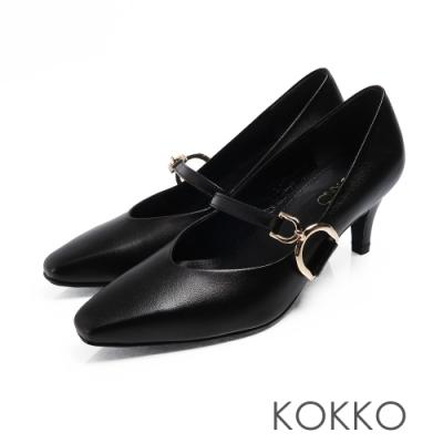 KOKKO - 優雅瑪莉珍羊皮V口D扣高跟鞋-亮黑色