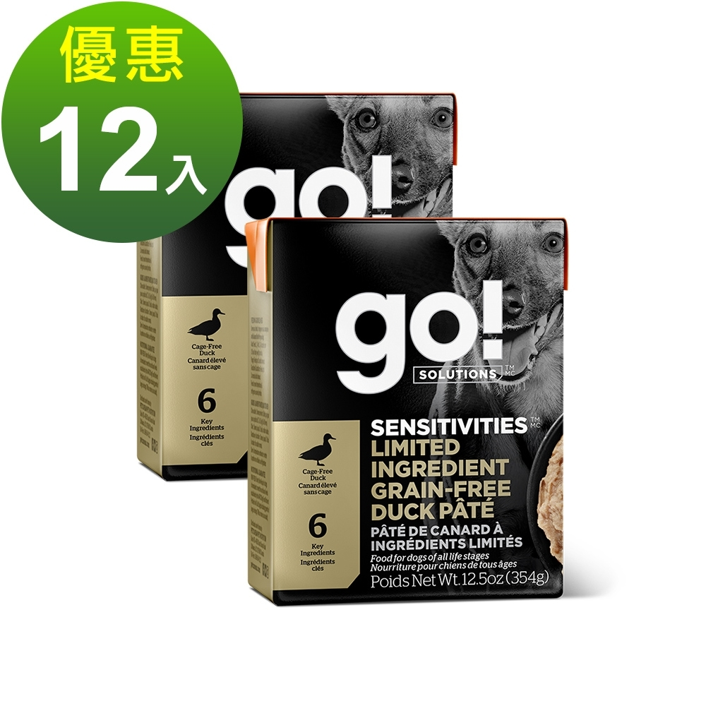 go! 豐醬無穀鴨 354g 12件組 鮮食利樂狗餐包(肉泥 鴨肉 狗罐)