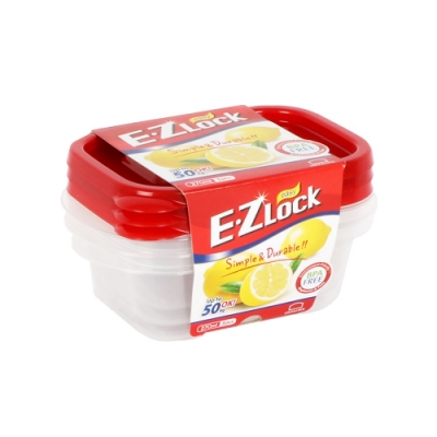 樂扣樂扣 EZ LOCK長型PP保鮮盒/270ML/3入(紅蓋)(快)