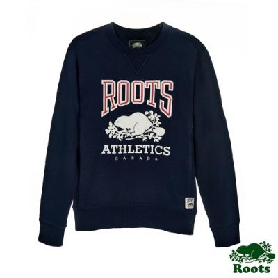 男裝Roots-復古原創圓領上衣-藍