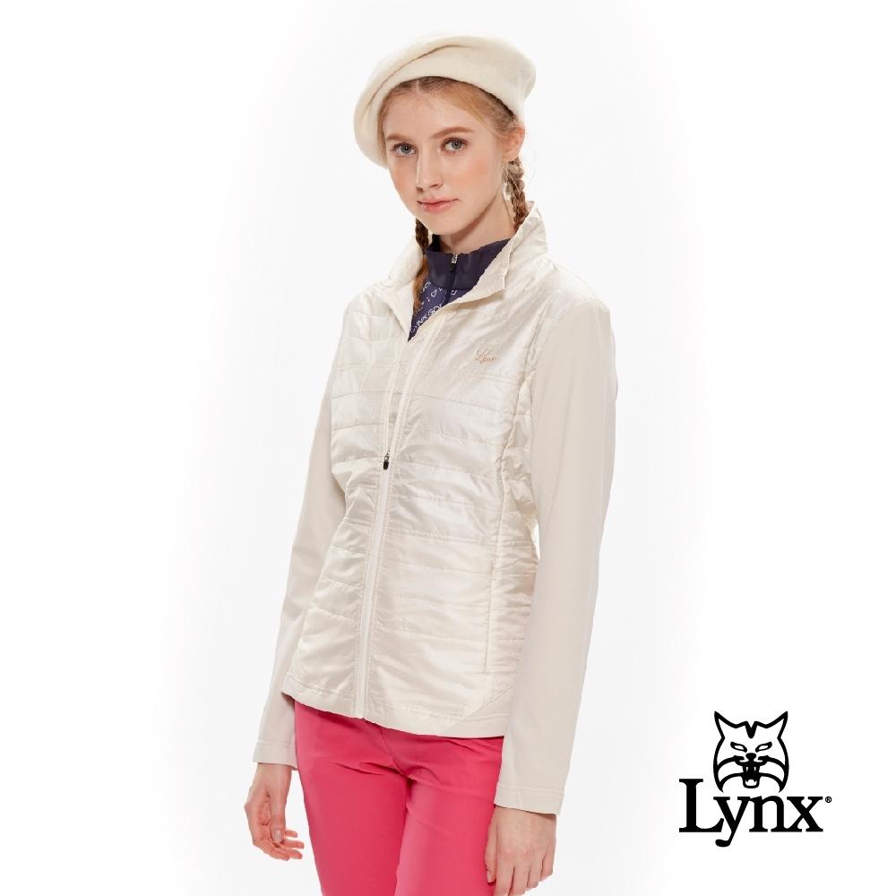 【Lynx Golf】女款異材質剪接水玉點點薄鋪棉長袖外套-牙白色