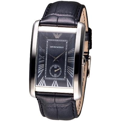 EMPORIO ARMANI英倫時尚獨立小錶盤男錶-黑(AR1604)/32*38mm