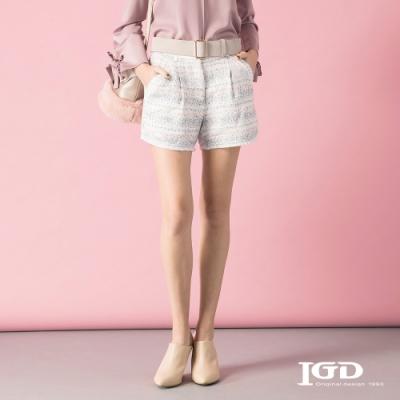 【IGD 英格麗】浪漫橫向織紋短褲-粉