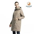 【hilltop山頂鳥】女款超潑水保暖蓄熱羽絨長大衣F21F82棕色