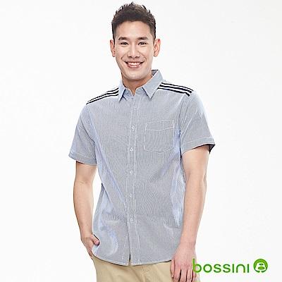 bossini男裝-條紋短袖襯衫01淡藍色
