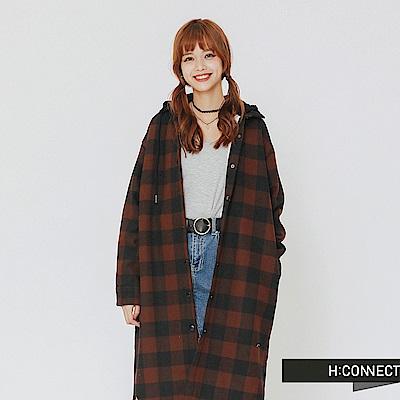 H:CONNECT 韓國品牌 女裝-內刷毛格紋連帽外套-棕
