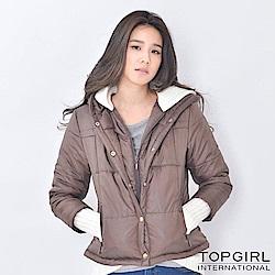 【TOP GIRL】假兩件式舖棉連帽外套 - 咖啡