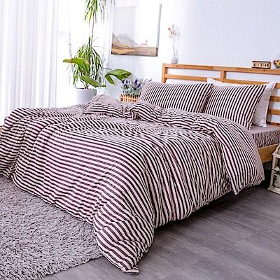 La Lune 日式無印旅行風針織雙人床包枕套3件組 東京 晴空塔咖啡館